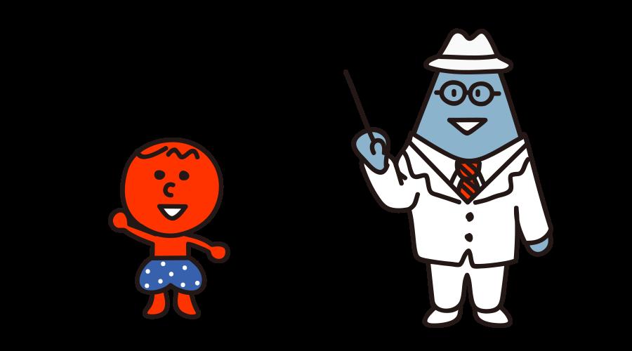 JMOOCキャラクターMoo-chanとFujiyama先生